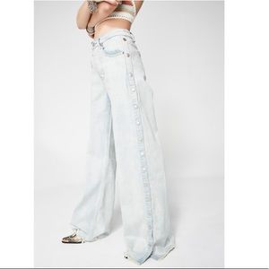 HOLD Dolls Kill Snap Away Wide Leg Jeans